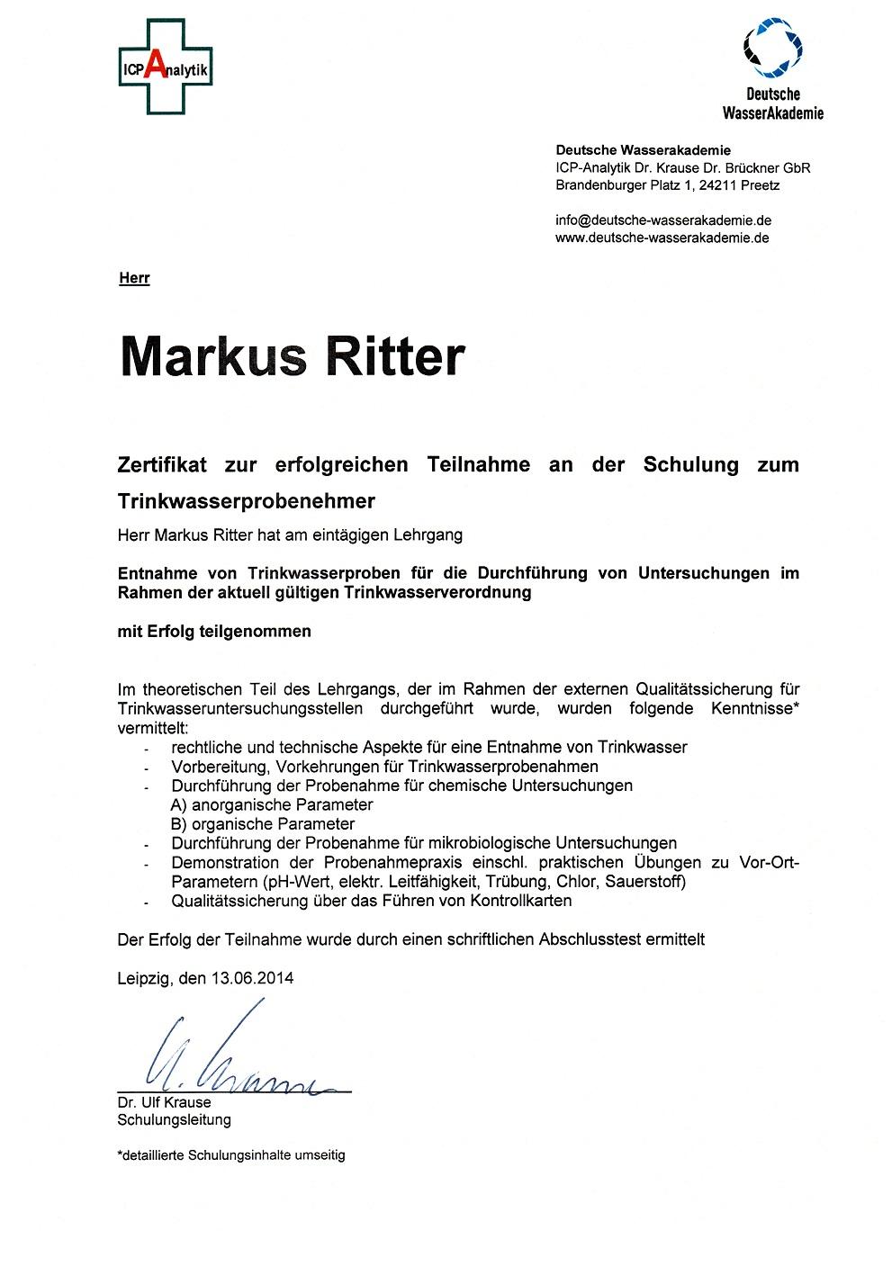 Zertifikat für Probenahme Trinkwasserfüftung