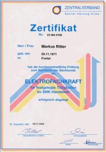 Zertifikat von Herrn Markus Ritter als Elektrofachkraft