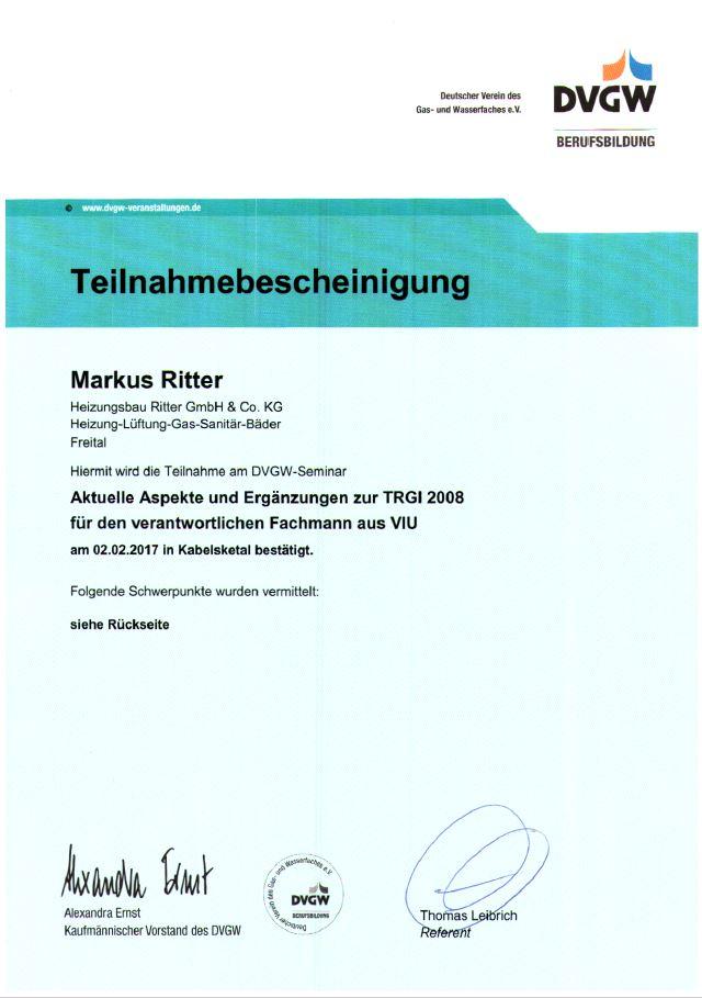 Gasinstallation Zertifikat