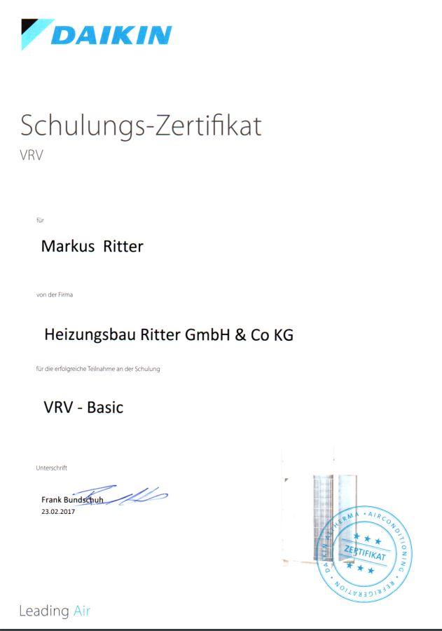 Zertifikat für Daikin VRV-IV