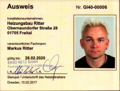 Gas Ausweis Heizungsbau Ritter
