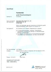 Zertifikat Fachbetrieb für die Installation & Wartung von Ölheizungen
