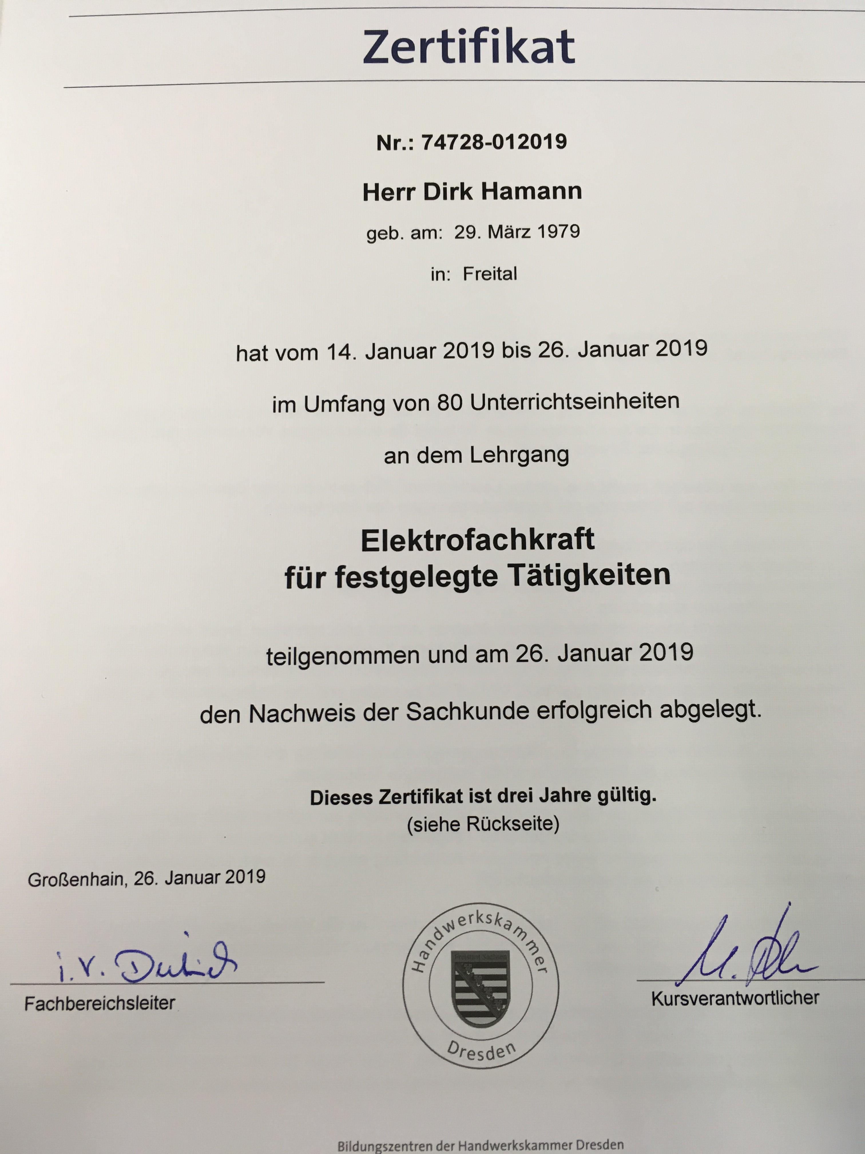 Zertifikat von Herrn Dirk Hamann als Elektrofachkraft